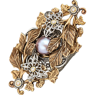 Large Cocktail Ring, Large Pearl Ring, Large Statement Ring, Pearl Ring, Unique Ring