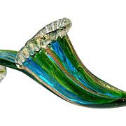Murano Glass Slipper with Aventurine