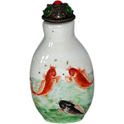 Painted Porcelain Snuff Bottle with Koi & Insects - Red Tag Sale Item