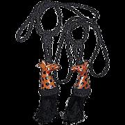 Pair of Sculpted Leather Giraffes Curtain Tiebacks