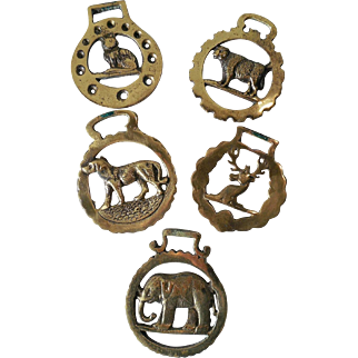 Set of 5 English Bridle Brasses with Animals