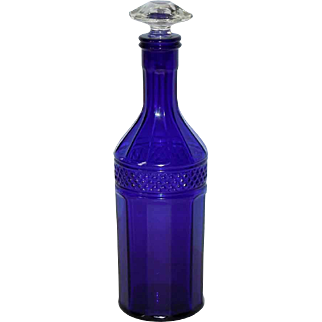 Faceted Cobalt Glass Decanter