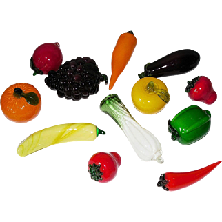 A Dozen Mid Century Glass Fruit and Vegetables