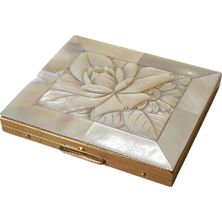 Carved Mother of Pearl Cigarette Case