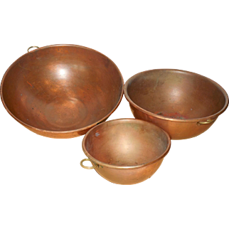 Vintage French Copper Mixing Bowls/Set of 3