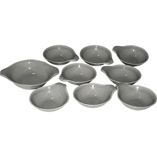 Set of 9 Russel Wright American Modern Granite Gray Lug Bowls