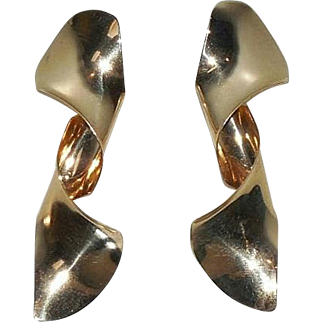 Sculptural Anticlastic 14K Gold Earrings/Signed