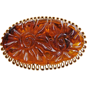 57% OFF Unique Bakelite Carved Open Pierced Flower Brooch