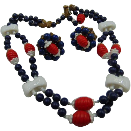 Miriam Haskell Red/White/Blue Glass Necklace & Earrings