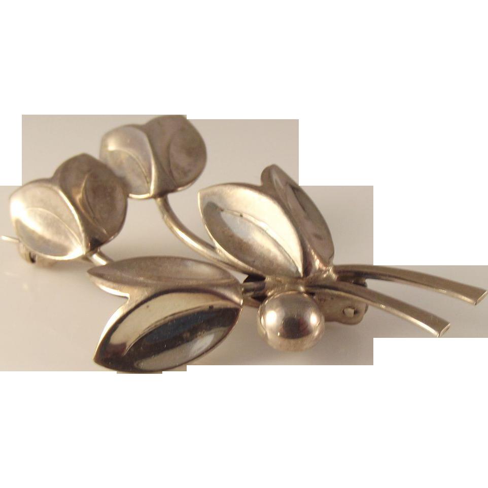 55% OFF Denmark Sterling Silver Leaf Pin H S Denmark 7 Grams