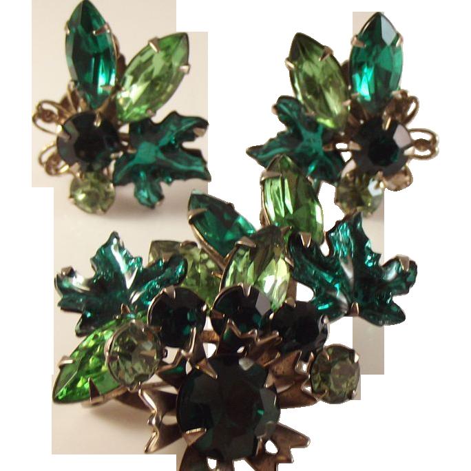 55% OFF Vintage Rhinestone Leaf/brooch/clip Earrings