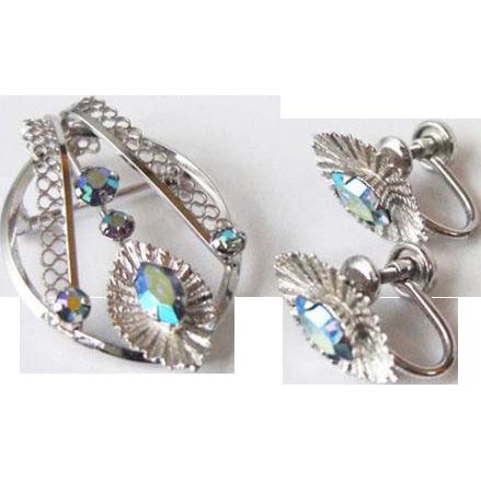 50% OFF Sterling  Demi Parure Rhinestone Brooch/  screw back Earrings Set