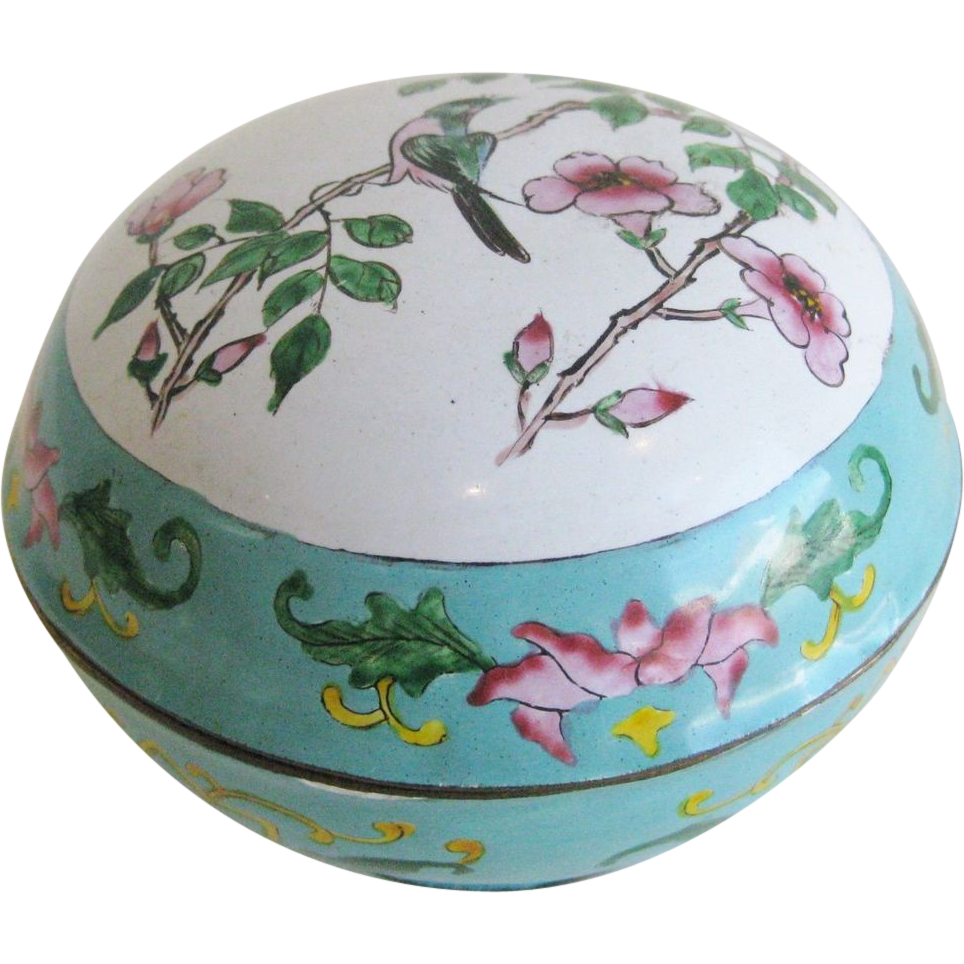 60% OFF Fine Chinese Cloisonne/Enamel Round Covered Box w/Floral bird Motif