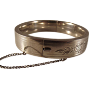 Ballou Sterling Floral Chased Bangle Bracelet