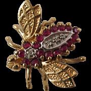 10 Karat Ruby Bumble Bee Pin Brooch Fine Jewelry