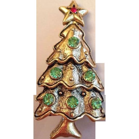 vintage signed weiss christmas tree brooch sold on ruby lane. Black Bedroom Furniture Sets. Home Design Ideas