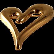 Vintage Monet Brooch Gold Tone Heart Brooch