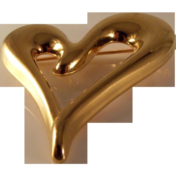 55% OFF Vintage Monet Brooch Gold Tone Heart Brooch