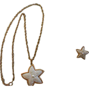55% OFF Faux Seed Bead Pearl Starfish SET Necklace pierced Earrings