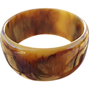 40% OFF Bakelite Extra Wide end of the day marbled bangle bracelet