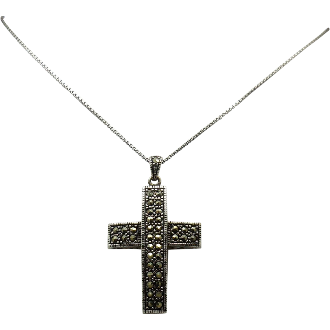 50% OFF Vintage  Sterling Silver Marcasite Cross Pendant/chain
