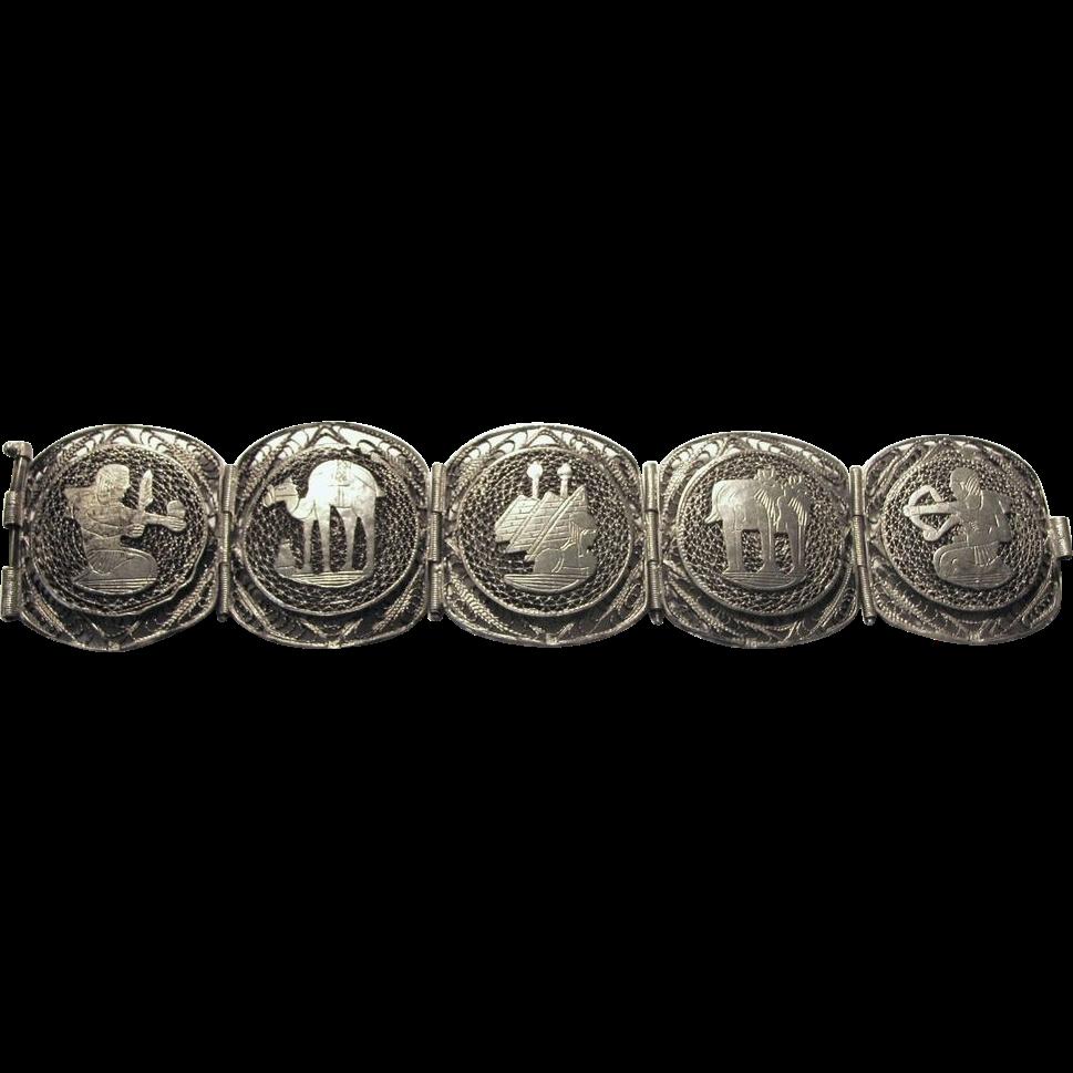 65% OFF Signed Bracelet Egyptian 800 Silver Filigree vintage