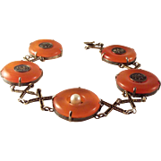 Antique Chinese Red/Orange Jade Sterling Vermeil Bracelet