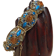 Antique Chinese wedding bracelet sterling  and enameled with Carnelian