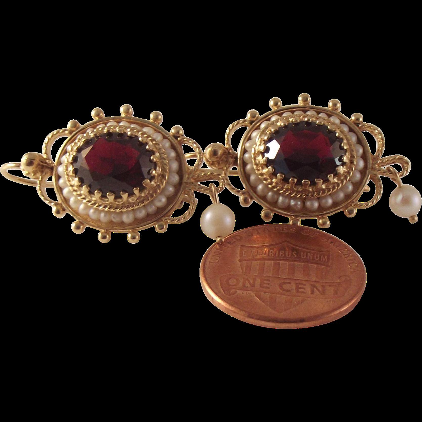 Large Vintage 14k Garnet Seed Pearl Earrings