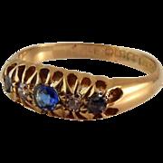 Sold Antique 18k Gold Diamond Sapphire Gemstone Ring