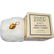 Avon birthstone heart charm goldtone simulated topaz