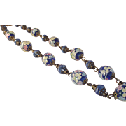 CLOSING 40-80% OFF Vintage Blue Lampwork Glass Bead Crystal Necklace