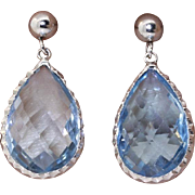 14K 6 ctw Blue Topaz Drop Earrings
