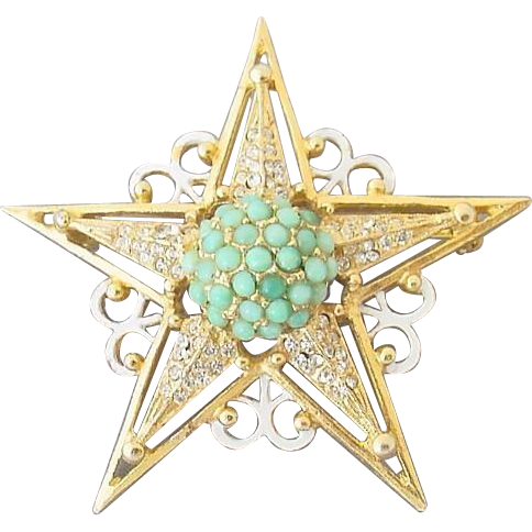 "55% OFF Rare ""HATTIE CARNEGIE"" five-pointed star brooch"