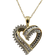 "Certified 1/2carat Diamond Heart Necklace 18"" Chain"