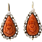 Antique Carved Coral Seed Pearl Earrings