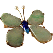 Antique Chinese Qing Dynasty Natural Jadeite Jade Butterfly Brooch 10k over Silver & Enamel Setting