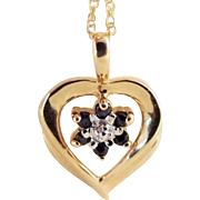 STORE WIDE 10k Gold Two-Tone Spinel Heart Necklace