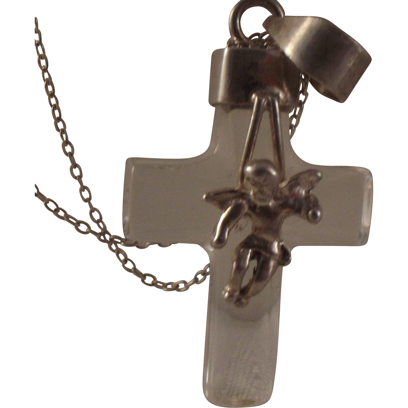 50% OFF Vintage Crystal Cherub Sterling Cross pendant necklace