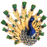 STORE WIDE Iconic BOUCHER Signed Peacock Enamel Brooch Book Piece