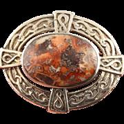 STORE WIDE Vintage sterling silver Scottish agate pebble Celtic brooch