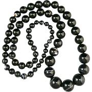 """45% OFF Banded Agate  Graduated Bead Necklace 36"""""""