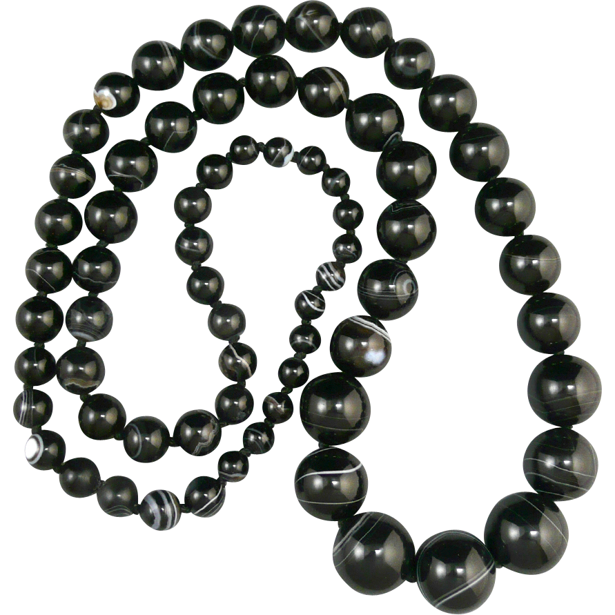 45% OFF Banded Agate  Graduated Bead Necklace 36""