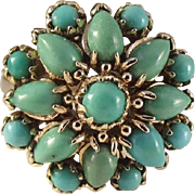 14K Yellow Gold Turquoise Cluster Ring