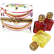 STORE WIDE Rare Magenta/Yellow Triple Perfume Bottle Hand Painted Limoges Trinket Box