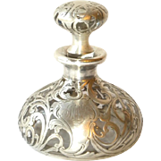 VICTORIAN GLASS & STERLING SILVER OVERLAY SCENT/PERFUME BOTTLE