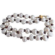 14k Garnet BAROQUE Pearl Bead Necklace
