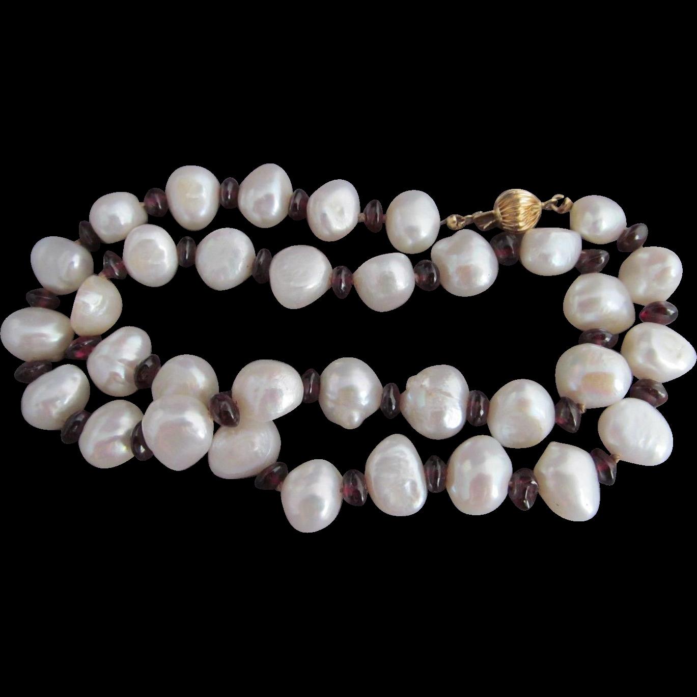 50% OFF 14k Garnet BAROQUE Pearl Bead Necklace