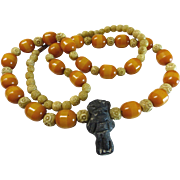 800 Silver Bone Butterscotch Amber Bakelite Tribal Necklace 30""