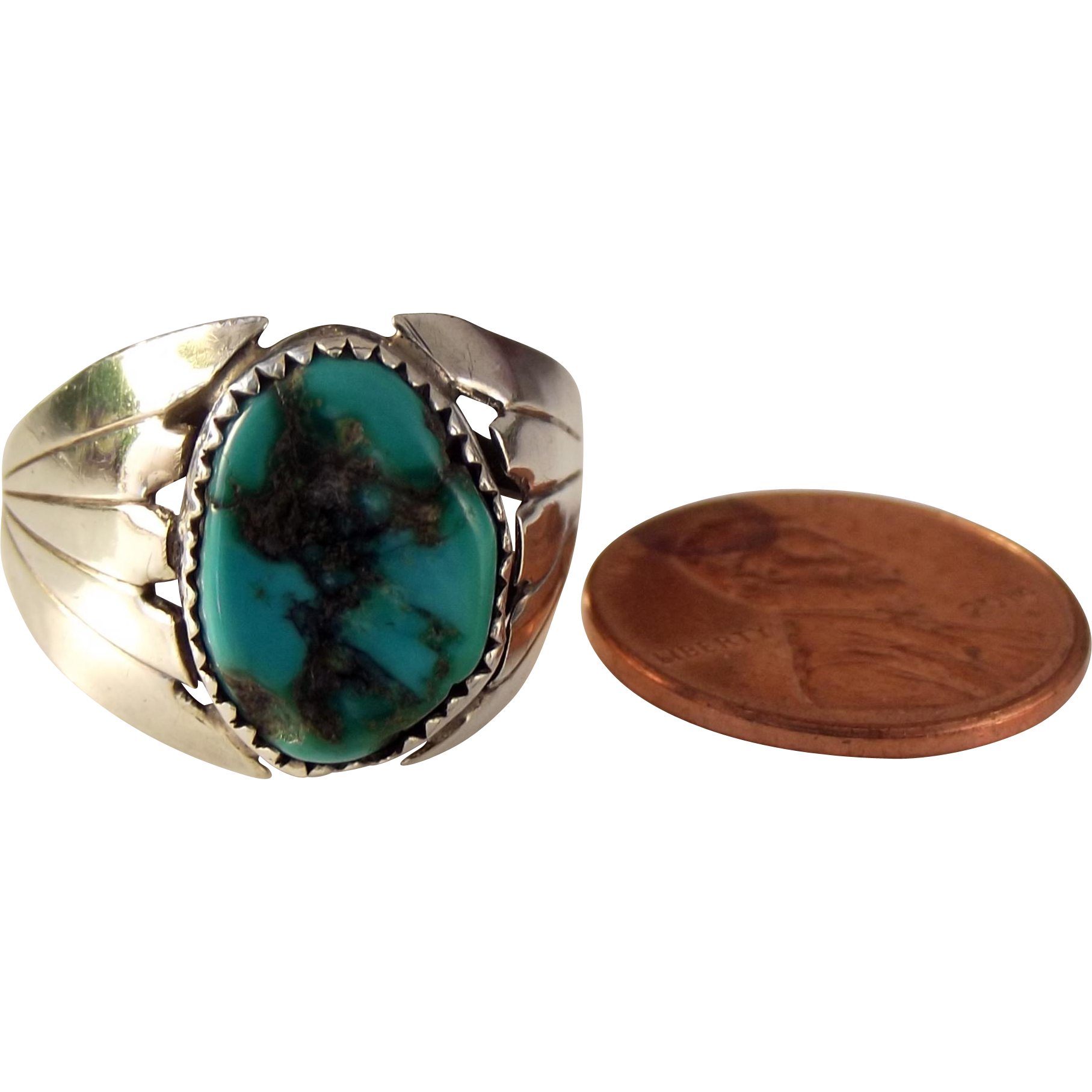 25% OFF Vintage Native American 800 Silver Bisbee Turquoise Ring Size 9